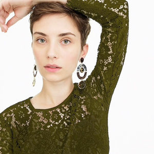 J.Crew Olive Green Lace Top With Built In Cami NWT